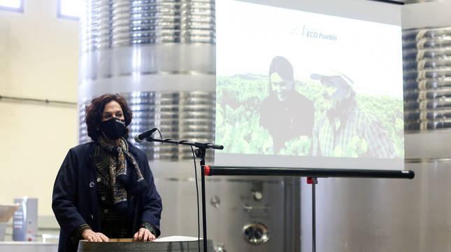 La consejera Gómez, en la presentación del proyecto 'ECO pueblo' de San Martín de Unx.
