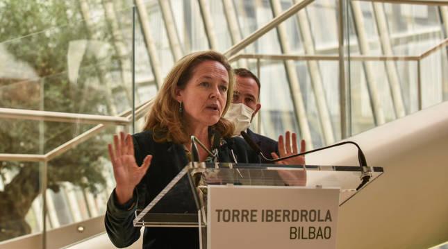 La ministra de Asuntos Económicos y Transformación Digital en el Círculo de Empresarios Vascos en Bilbao