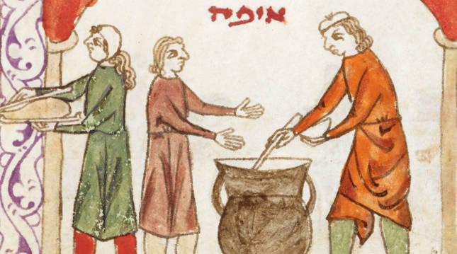 Comida judía, ilustración de la Hagadá Hispano-morisca (siglo XIII).
