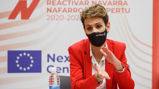 María Chivite interviene en un acto este martes en Peralta.