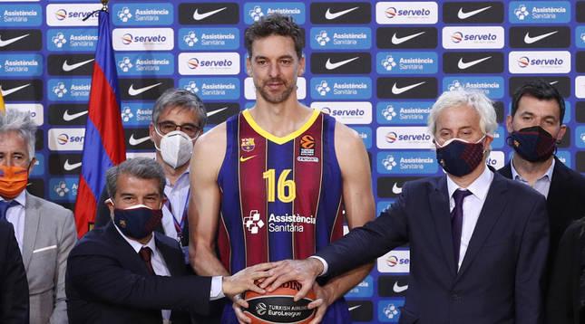 Presentación de Pau Gasol en Barcelona.