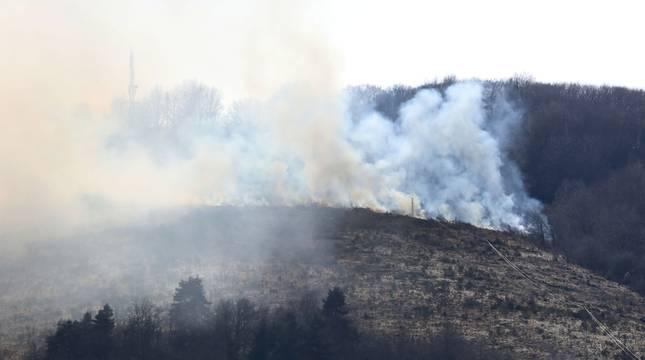 Incendio forestal en Aribe.
