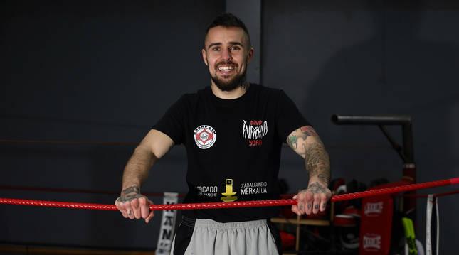 David 'Infierno' Soria en el gimnasio Kanku de Burlada. El navarro busca revalidar el título.