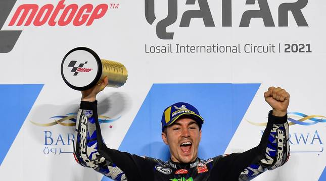 Maverick Viñales celebra su victoria en el GP de Catar