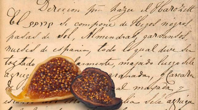 Foto de higos secos y receta de jaroset sefardí, imagen del siglo XVIII.