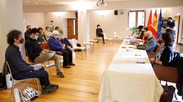 María Chivite y los consejeros Elma Saiz, Bernardo Ciriza e Itziar Gómez, en su encuentro de ayer.