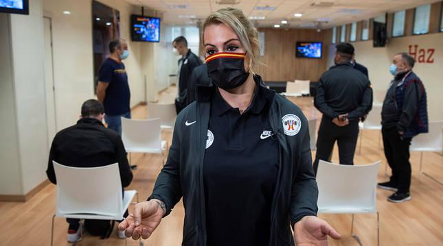 La haltera española Lydia Valentín en la sede del Consejo Superior de Deportes.