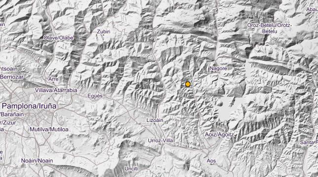 Foto dell último terremoto registrado por el Instituto Nacional Geográfico en Navarra.