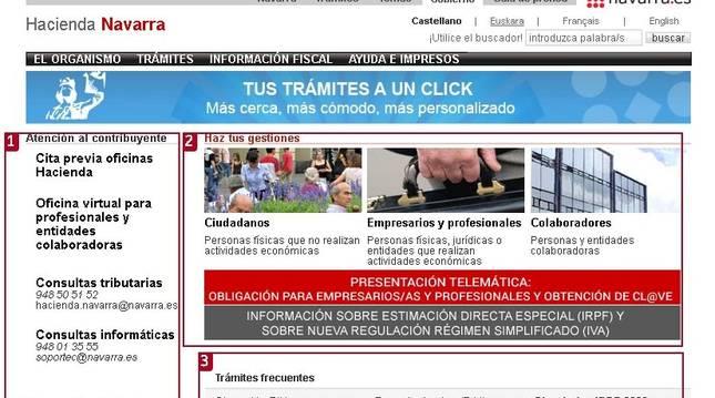 Portal de Hacienda Navarra desde donde se puede acceder al simulador de la Declaración de Renta 2020.