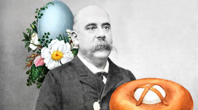 El expresidente Emilio Castelar, en una composición de imagen, con una mona de Pascua.