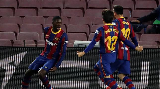 Ousmane Dembélé celebra su gol, primero y único del Barcelona ante el Valladolid