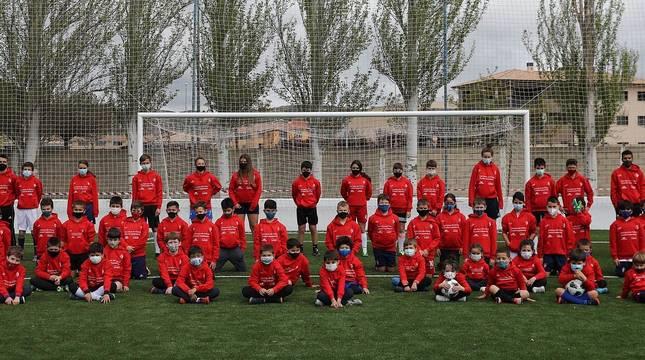 Fotos de los participantes en el Campus de Semana Santa de la Fundación Osasuna en Sangüesa