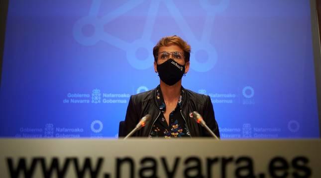 La presidenta del Gobierno de Navarra, María Chivite, ha comparecido en rueda de prensa para detallar los proyectos englobados en los fondos REACT-EU.