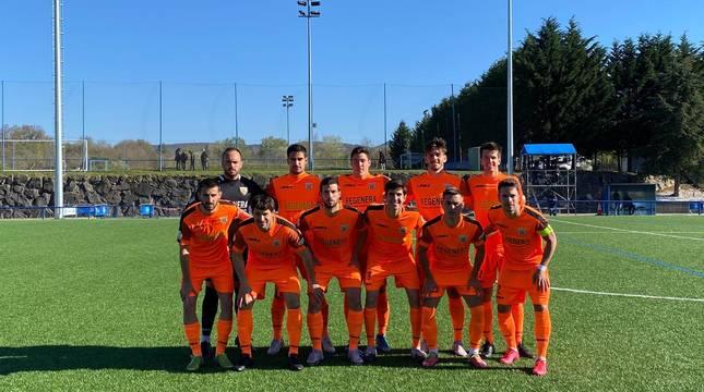 Jugadores que formaron el once con el que el Izarra se enfrentó ayer al Alavés B.