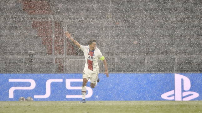 Marquinhos celebra el segundo gol del PSG.