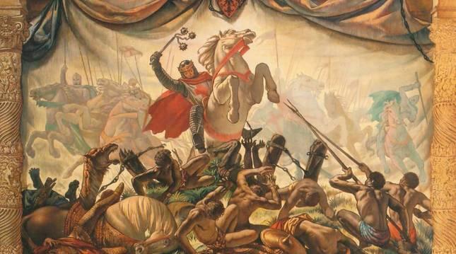 Tapiz de 1950 de las Navas de Tolosa. En el centro aparece el rey Sancho VII El Fuerte.vicente pascual