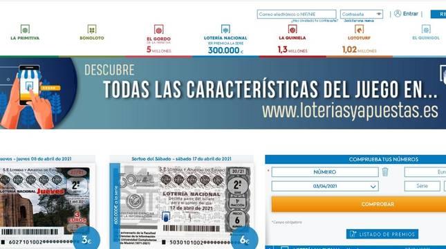 Imagen de la web de Loterías y Apuestas del Estado.