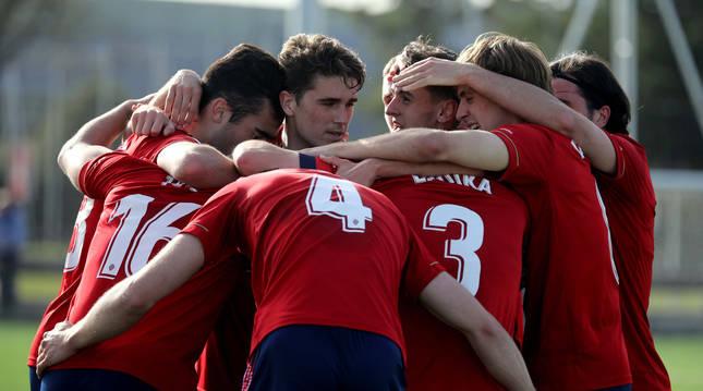 Los jugadores de Osasuna Promesas celebran un gol en un partido anterior.