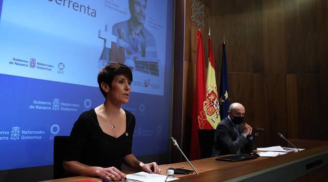 La consejera Elma Saiz durante la presentación de la campaña de la renta.