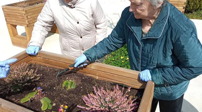 Foto de dos mujeres cuidando de unas plantas dentro del programa terapéutico de la clínica.