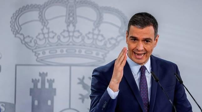 El presidente del Gobierno, Pedro Sánchez, en rueda de prensa tras la reunión del Consejo de Ministros.