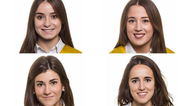 Foto de Uxue Izpura y Julia Nieto; abajo: María López y Ana Aldaz.