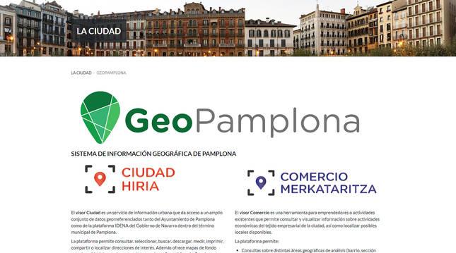 Portal del servicio de información 'GeoPamplona'.