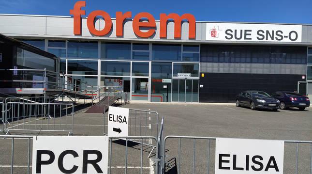 Espacio de Forem en Mutilva, donde el Gobierno de Navarra realiza pruebas de PCR y Elisa