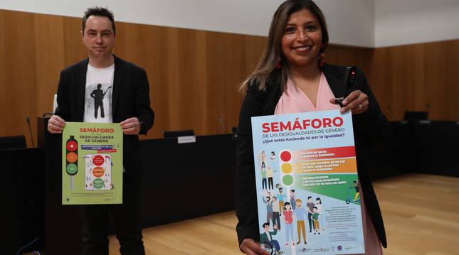 José Miguel Bernal, edil de Participación Ciudadana, y Juliana Anchundia, concejal de Igualdad.