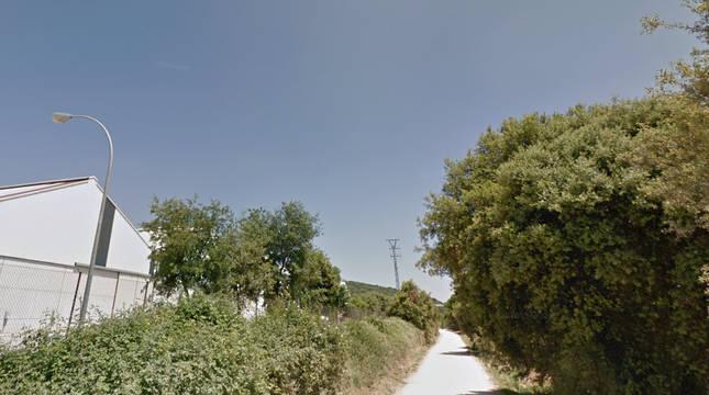 Camino junto a la cooperativa, en Murieta.