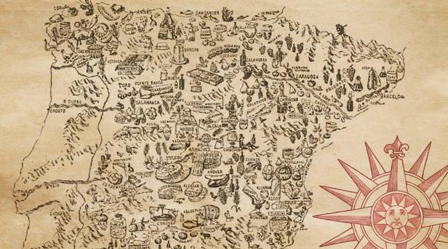 Mapa de España gastronómica, almanaque Bailly-Bailliere 1900. Biblioteca Nacional de España.