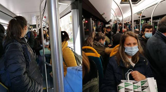 Las líneas 3 y 21, el jueves de la semana pasada, a las 15.15 horas. A la derecha, a las 21.15 horas, la semana anterior.