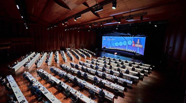 Vista general del Congreso de la UEFa celebrado en la localidad suiza de Montreux