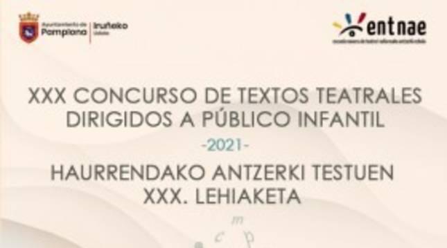Cartel de concurso de textos teatrales convocado por el Ayunamiento de Pamplona.