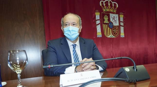El ministro de Justicia, Juan Carlos Campo, durante su reunión con la Sala de Gobierno del Tribunal Superior de Justicia de Navarra (TSJN).