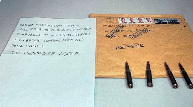 Marlaska, Iglesias y María Gámez reciben cartas con cartuchos de bala