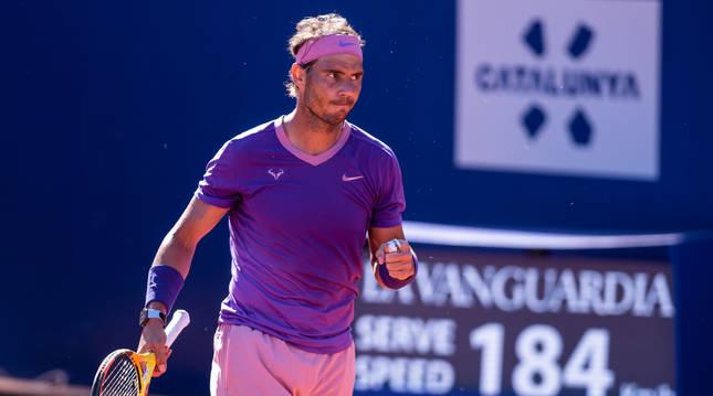 Rafa Nadal durante el partido de semifinales en Barcelona.