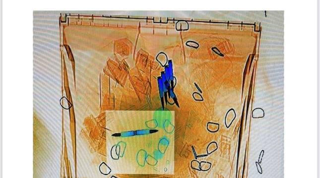 Imagen del escáner con las balas.