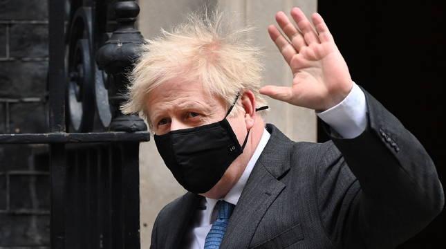 Boris Johnson, en la puerta de Downing Street.