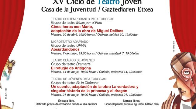 Imagen del cartel del XV Ciclo de Teatro de la Casa de la Juventud.