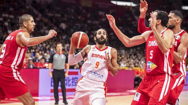 Ricky Rubio, con la selección española de baloncesto.