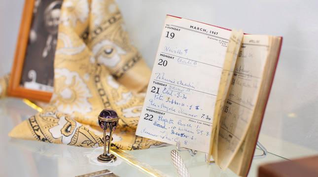 Foto de la agenda utilizada en el último año de vida de la actriz Vivien Leigh.