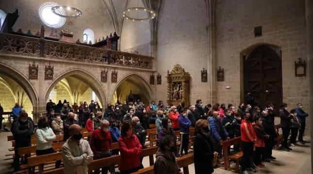 Ujué ha celebrado este domingo, día 2 de mayo, cinco eucaristías en las que se han repartido los pueblos que, en un contexto normal, hubieran peregrinado hasta el santuario.