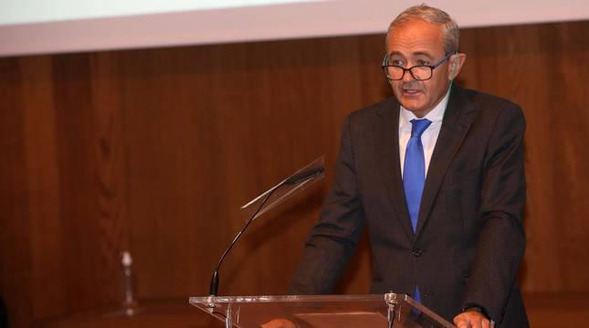 Jesús Uranga en un momento de su discurso ayer en Condestable.