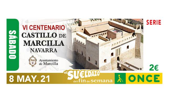 Cupón de la ONCE con el castillo de Marcilla.