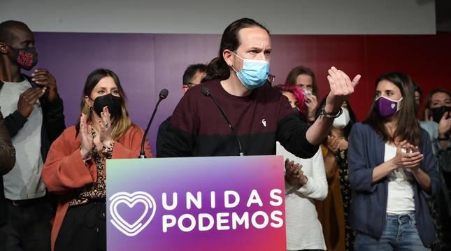 Comparecencia de Pablo Iglesias en la sede de Unidas Podemos en Madrid anunciando su adiós a la política.