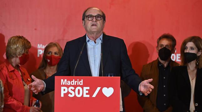 Ángel Gabilondo, en su comparecencia ante los medios tras conocer los resultados electorales en Madrid.