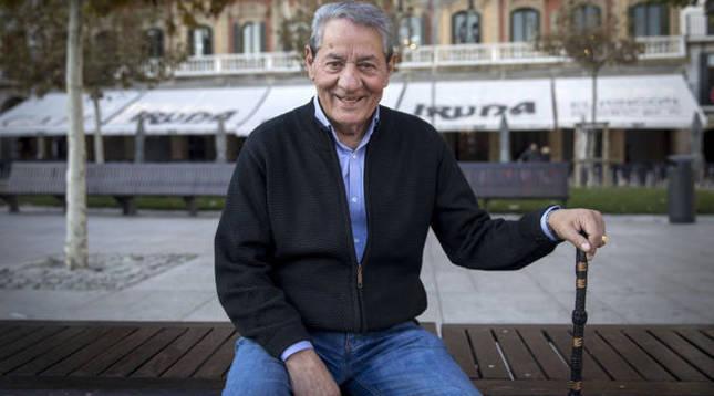 José Muñoz Berrio, en la Plaza del Castillo de Pamplona