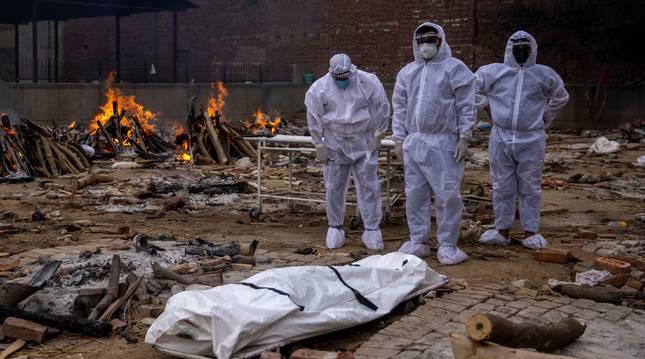 Cremación en Nueva Delhi.