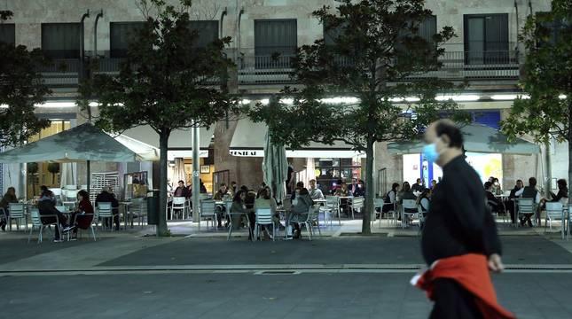 Terraza del bar Central, en Pamplona.